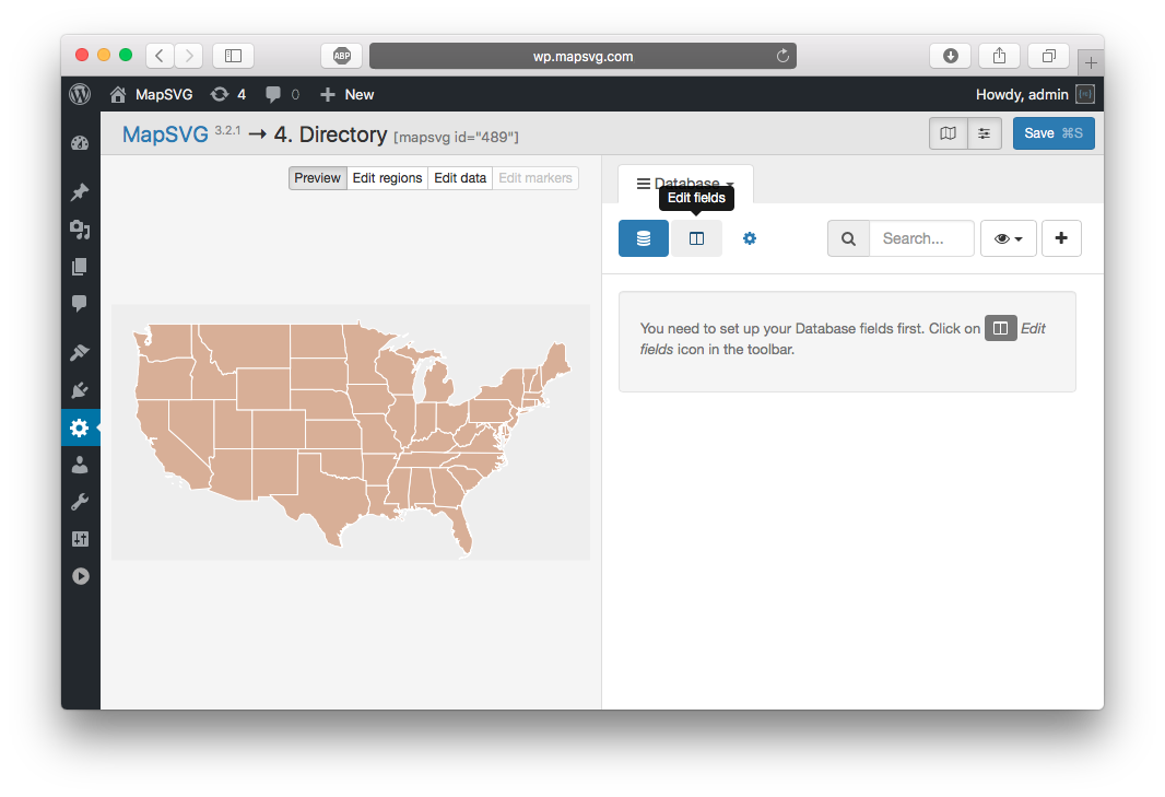 How to create a map with menu/directory in WordPress
