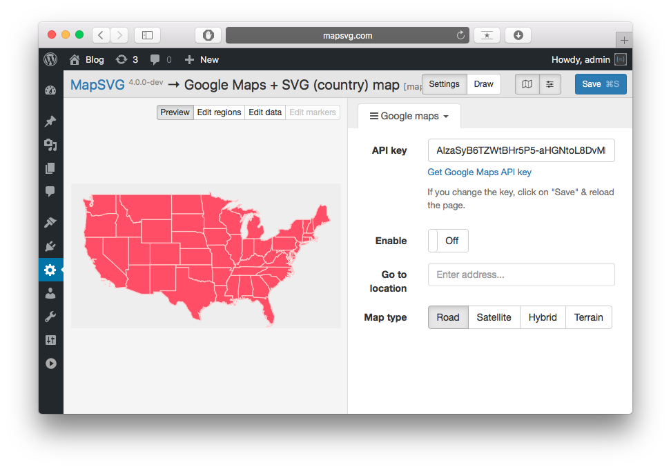 How to add Google Map with SVG overlay to WordPress